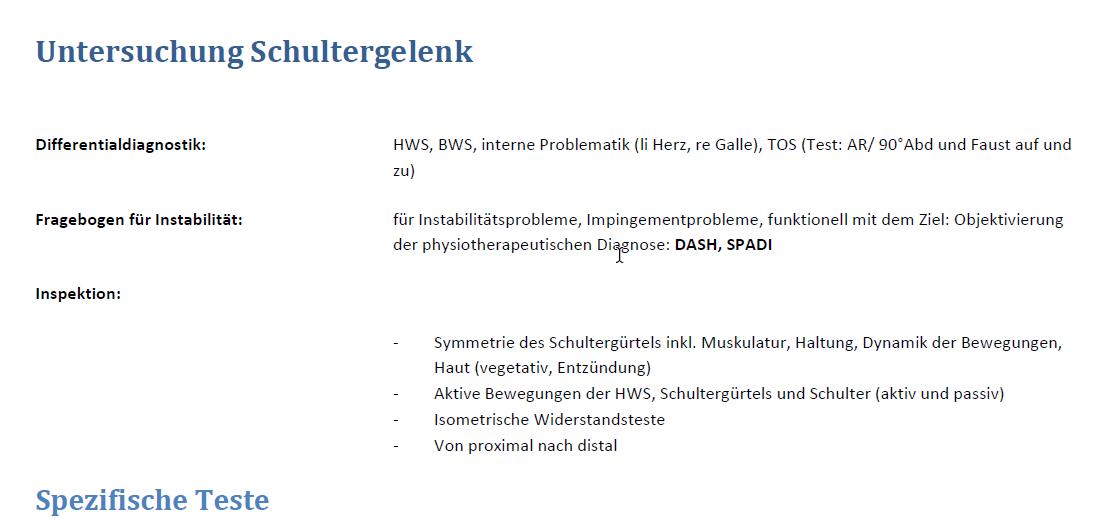 Schulter - Befunde - Physiowissen.de | Physiotherapie Portal & Forum