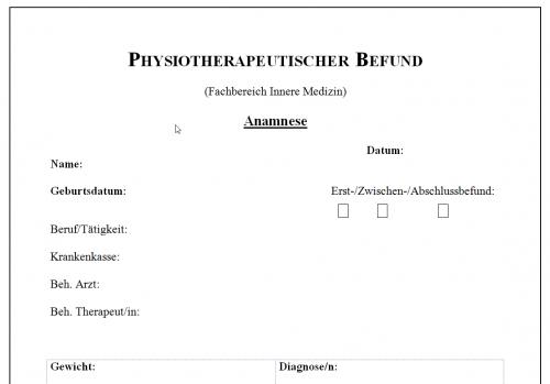 Screenshot for Physiotherapeutischer Befund - Fachbereich Innere